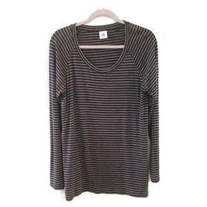 CABI Blair gray long sleeve striped shirt